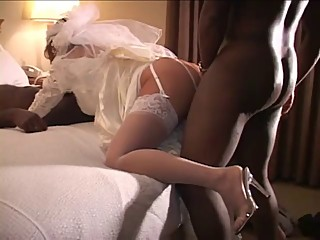 White Bride Fucked by 2 BBC on Wedding Night - Cuckold