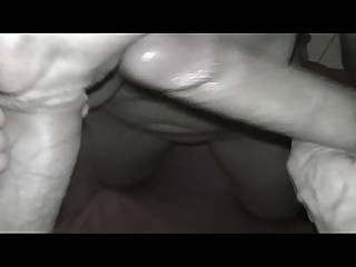 My wife sucking two cocks and cum