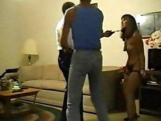 Husband forces wife to fuck an old black dude with a big dick